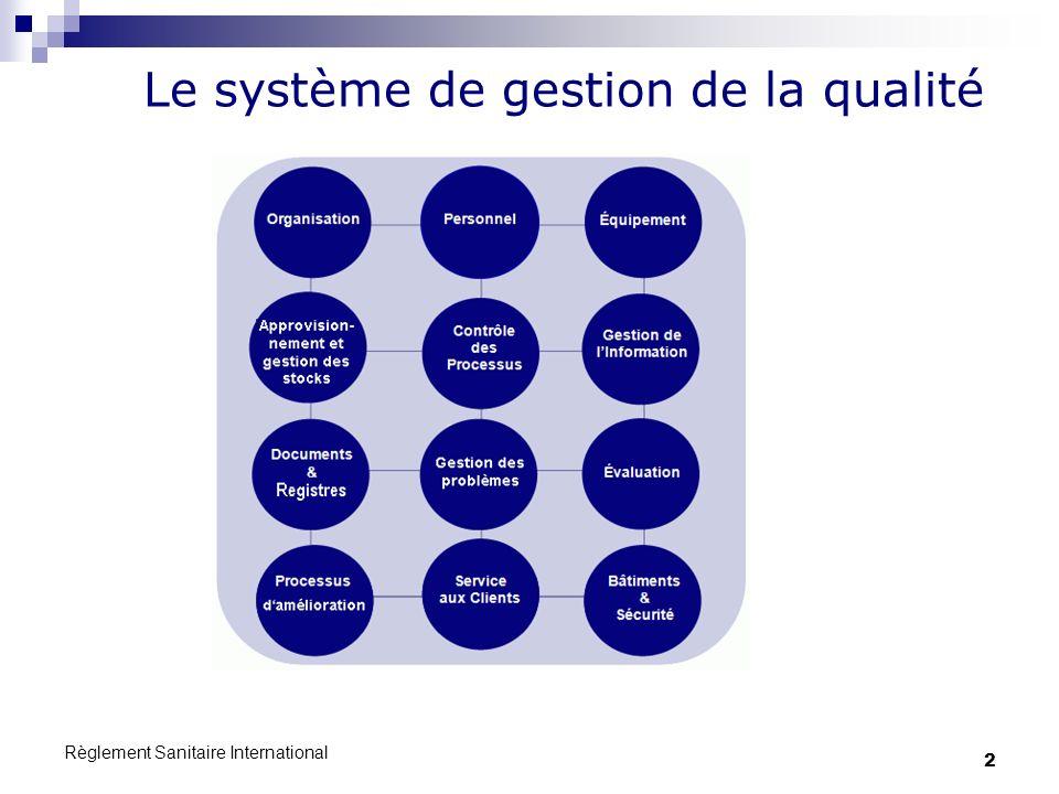 Règlement Sanitaire International 2 Le système de gestion de la qualité