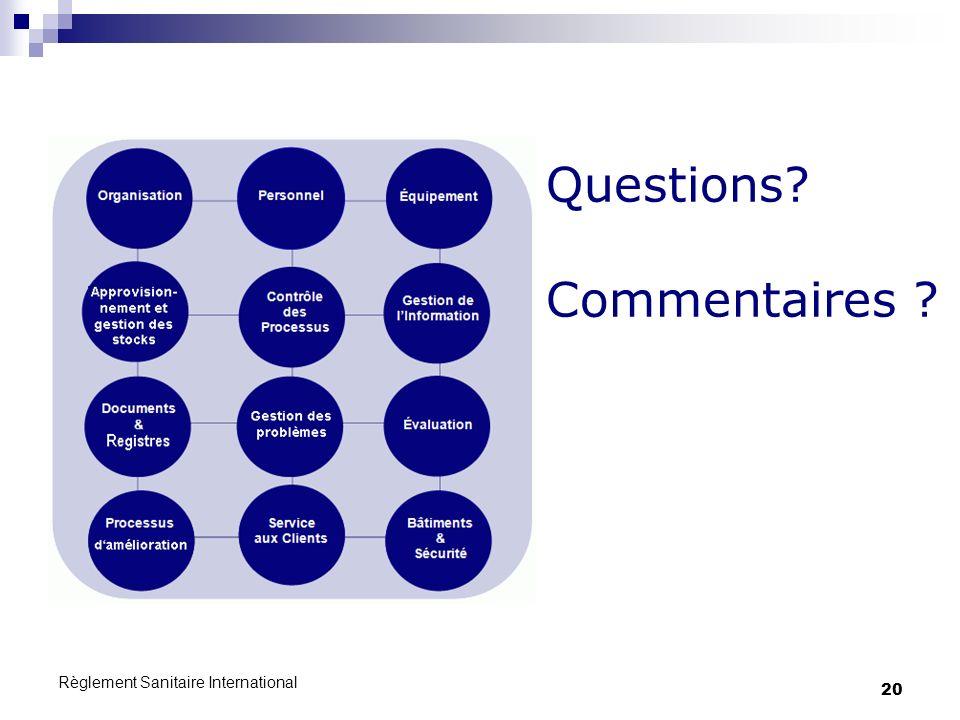 Règlement Sanitaire International 20 Questions? Commentaires ?