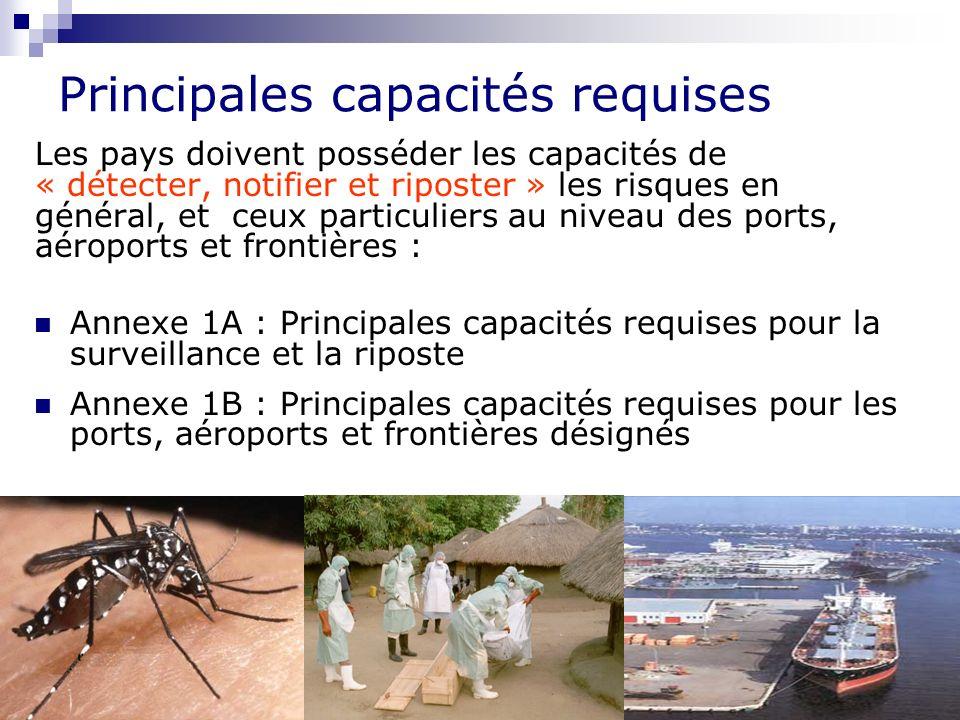 Règlement Sanitaire International 9 Principales capacités requises Les pays doivent posséder les capacités de « détecter, notifier et riposter » les risques en général, et ceux particuliers au niveau des ports, aéroports et frontières : Annexe 1A : Principales capacités requises pour la surveillance et la riposte Annexe 1B : Principales capacités requises pour les ports, aéroports et frontières désignés