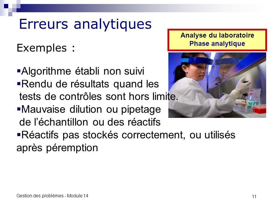 11 Gestion des problèmes - Module 14 Erreurs analytiques Analyse du laboratoire Phase analytique Exemples : Algorithme établi non suivi Rendu de résultats quand les tests de contrôles sont hors limite.
