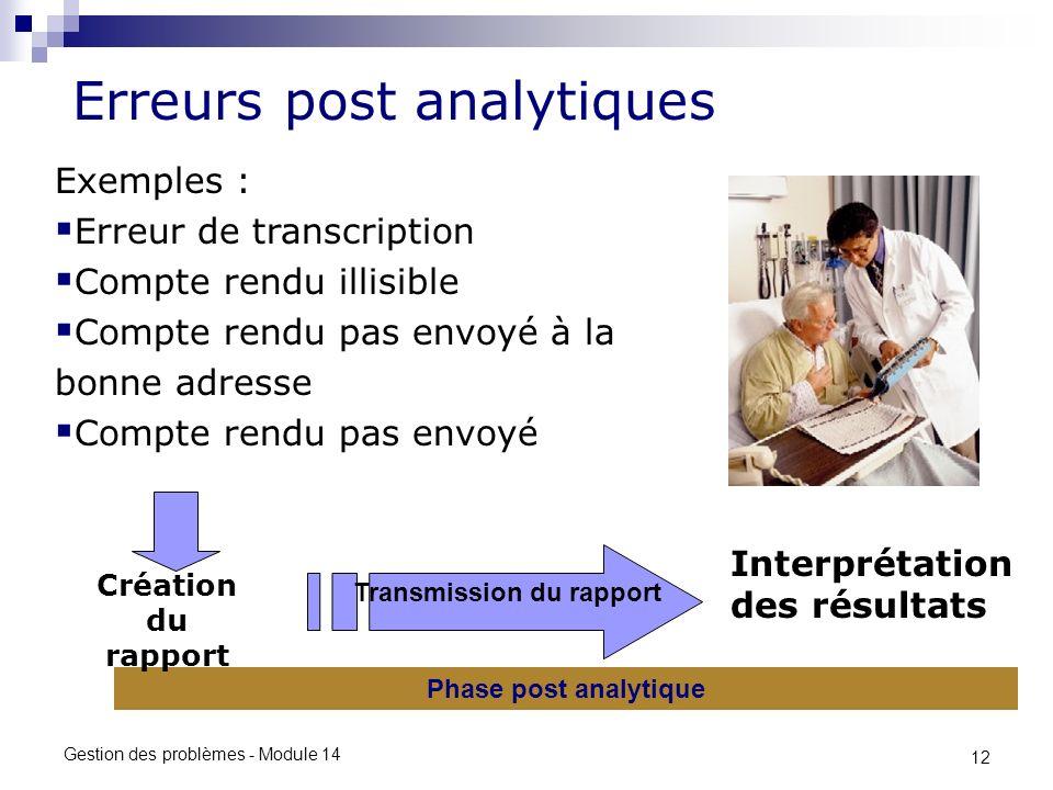 12 Gestion des problèmes - Module 14 Erreurs post analytiques Transmission du rapport Phase post analytique Interprétation des résultats Exemples : Er