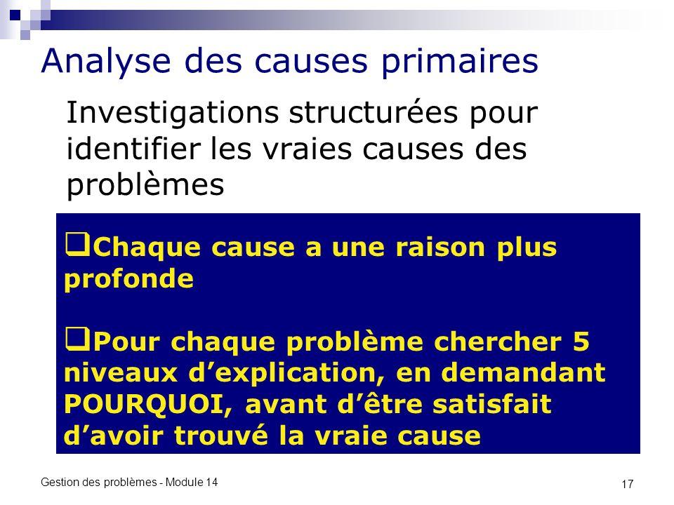 17 Gestion des problèmes - Module 14 Analyse des causes primaires Investigations structurées pour identifier les vraies causes des problèmes Chaque ca