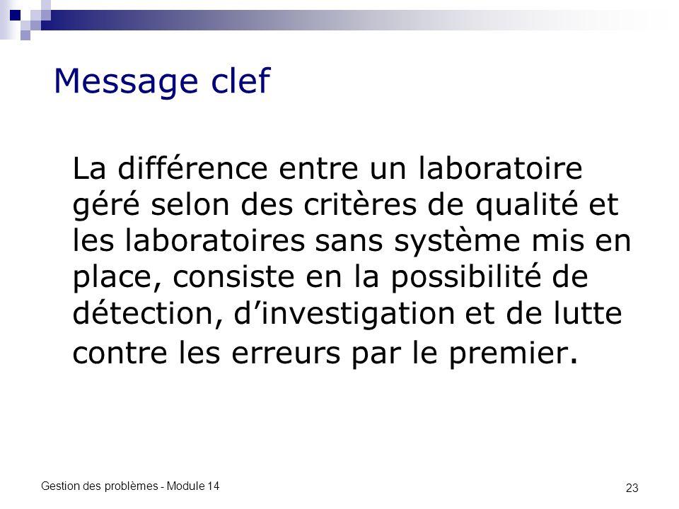 23 Gestion des problèmes - Module 14 Message clef La différence entre un laboratoire géré selon des critères de qualité et les laboratoires sans système mis en place, consiste en la possibilité de détection, dinvestigation et de lutte contre les erreurs par le premier.