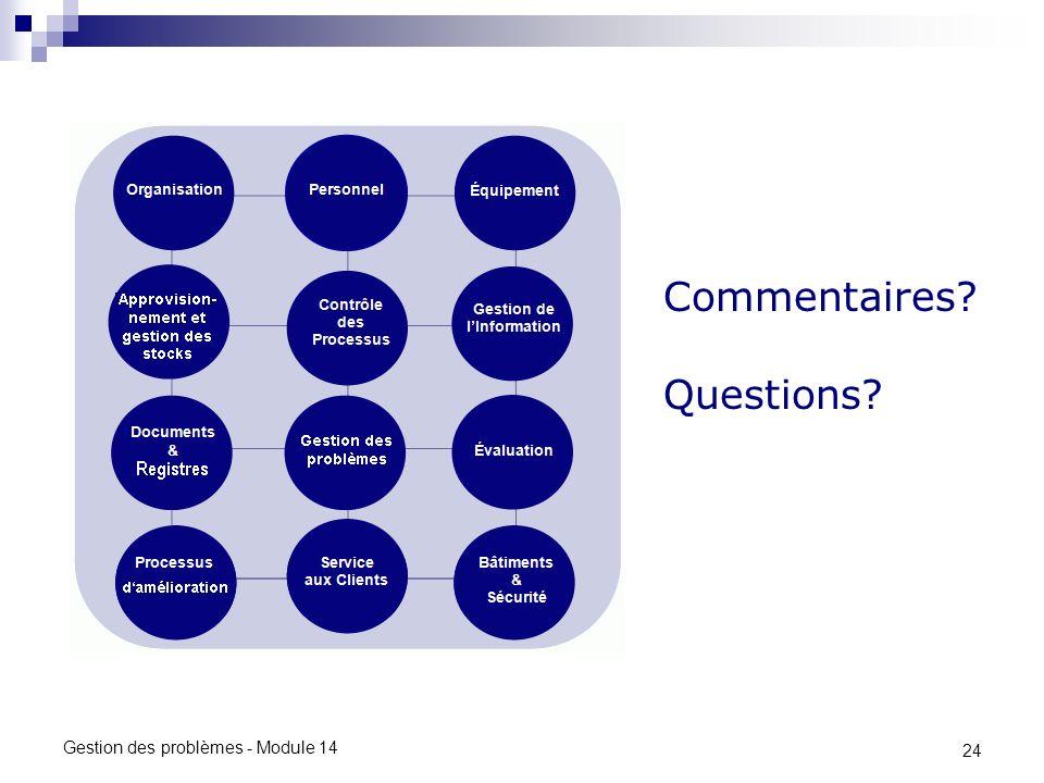 24 Gestion des problèmes - Module 14 Commentaires? Questions?