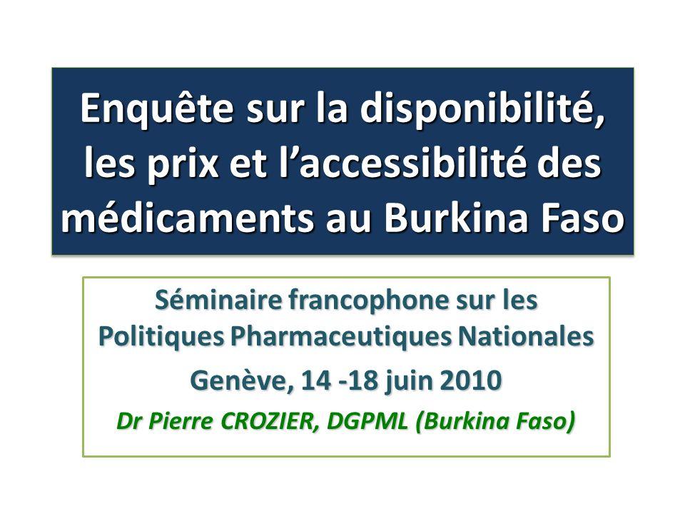 Enquête sur la disponibilité, les prix et laccessibilité des médicaments au Burkina Faso Séminaire francophone sur les Politiques Pharmaceutiques Nati