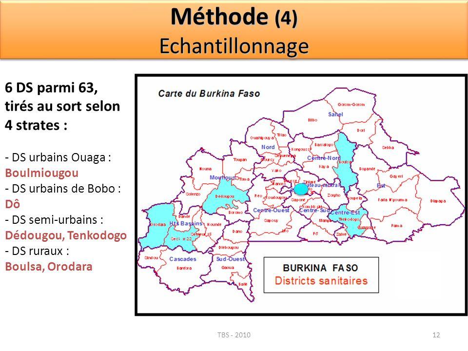 TBS - 201012 6 DS parmi 63, tirés au sort selon 4 strates : - DS urbains Ouaga : Boulmiougou - DS urbains de Bobo : Dô - DS semi-urbains : Dédougou, T