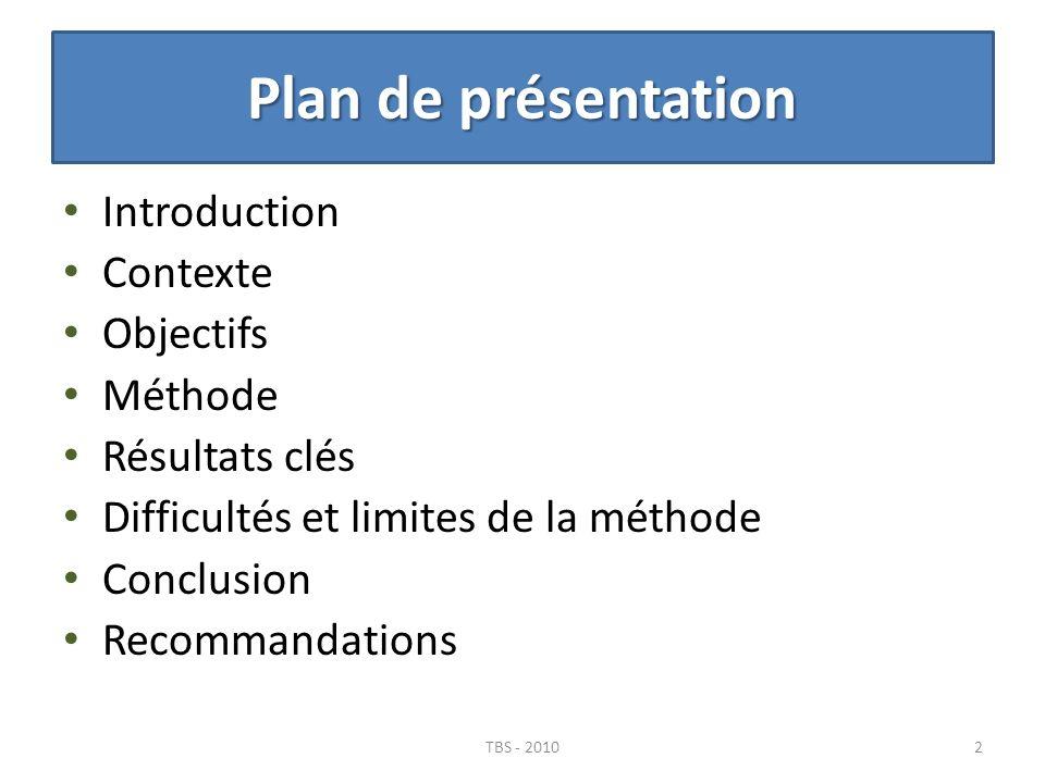 Plan de présentation Introduction Contexte Objectifs Méthode Résultats clés Difficultés et limites de la méthode Conclusion Recommandations 2TBS - 201