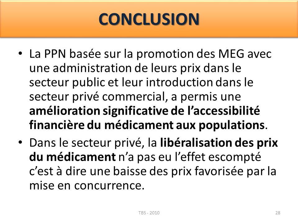 CONCLUSIONCONCLUSION La PPN basée sur la promotion des MEG avec une administration de leurs prix dans le secteur public et leur introduction dans le s