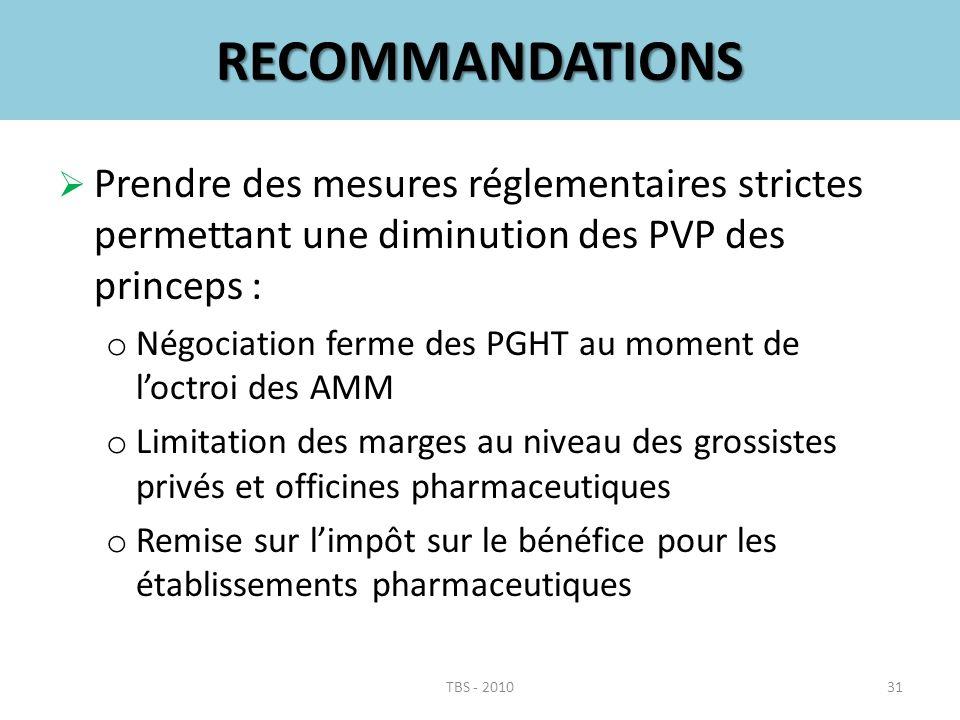 RECOMMANDATIONS Prendre des mesures réglementaires strictes permettant une diminution des PVP des princeps : o Négociation ferme des PGHT au moment de