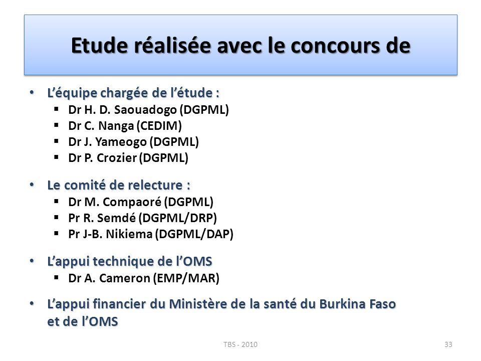 Etude réalisée avec le concours de Léquipe chargée de létude : Léquipe chargée de létude : Dr H. D. Saouadogo (DGPML) Dr C. Nanga (CEDIM) Dr J. Yameog