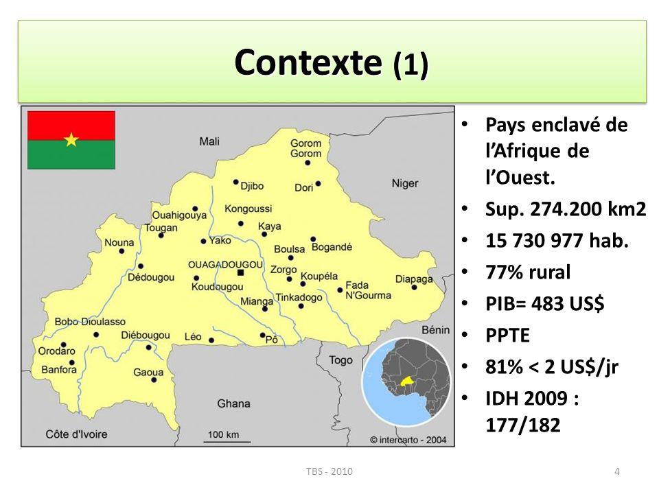 4 Pays enclavé de lAfrique de lOuest. Sup. 274.200 km2 15 730 977 hab. 77% rural PIB= 483 US$ PPTE 81% < 2 US$/jr IDH 2009 : 177/182 Contexte (1) TBS