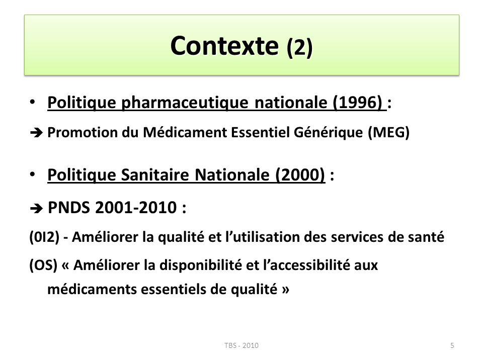 Contexte (2) Politique pharmaceutique nationale (1996) : Promotion du Médicament Essentiel Générique (MEG) Politique Sanitaire Nationale (2000) : PNDS