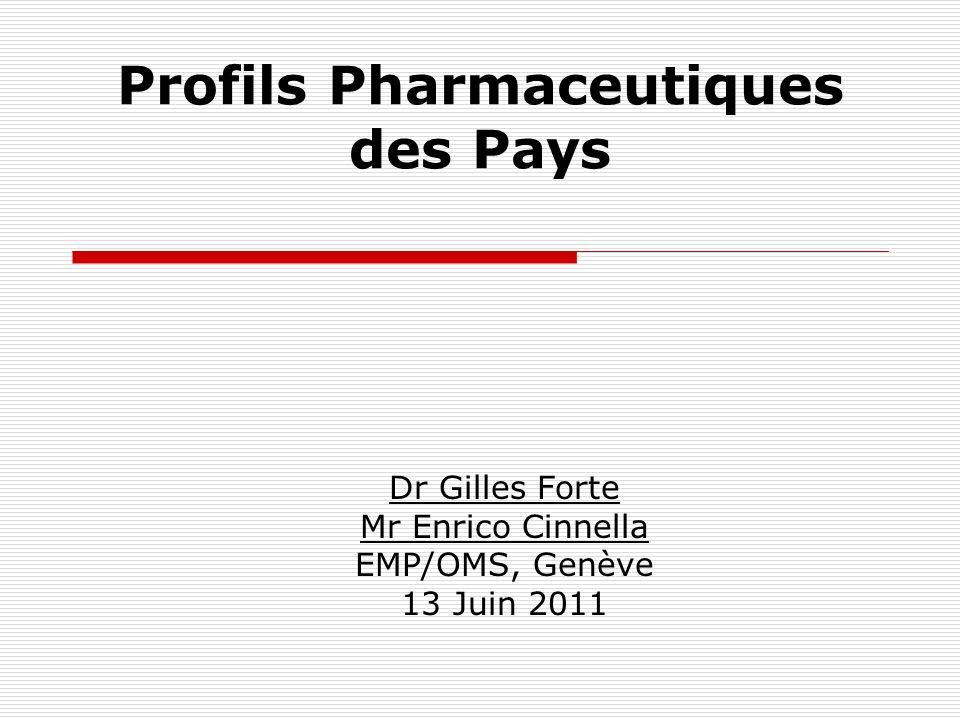 Profils Pharmaceutiques des Pays Dr Gilles Forte Mr Enrico Cinnella EMP/OMS, Genève 13 Juin 2011