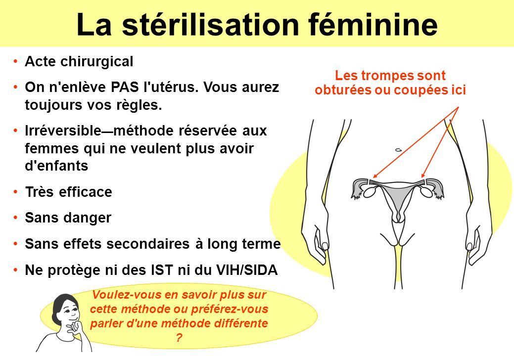La stérilisation féminine Acte chirurgical On n'enlève PAS l'utérus. Vous aurez toujours vos règles. Irréversible méthode réservée aux femmes qui ne v