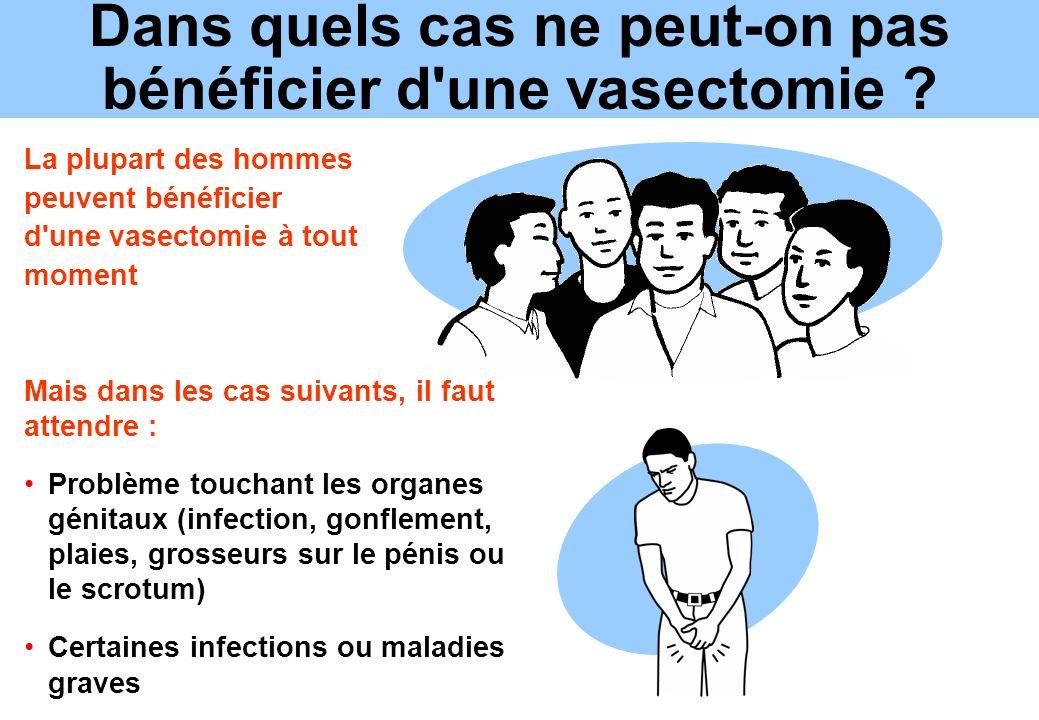 Dans quels cas ne peut-on pas bénéficier d'une vasectomie ? Mais dans les cas suivants, il faut attendre : Problème touchant les organes génitaux (inf