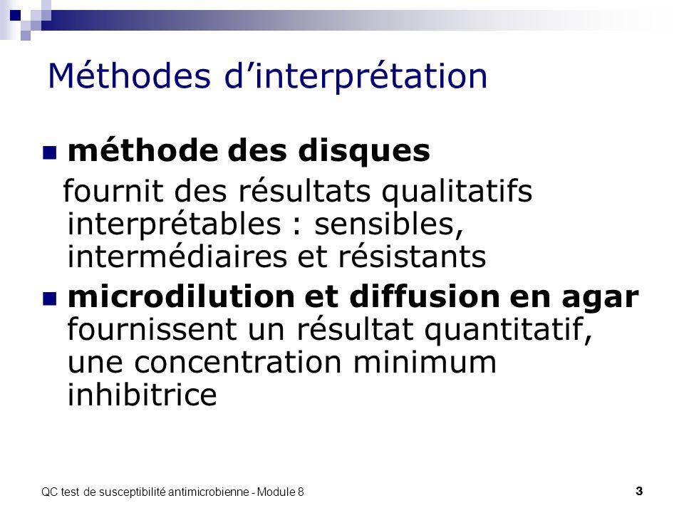 QC test de susceptibilité antimicrobienne - Module 8 4 Méthodes Les tests de sensibilité déterminent si la bactérie peut être inhibée par un antibiotique.