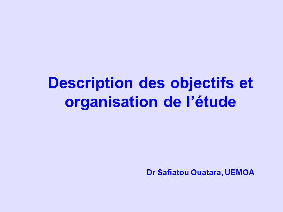 Objectifs généraux Les objectifs visés par létude étaient de : Rassembler les documents officiels des 8 pays de lUEMOA en vue de létude, de la sélection et de lutilisation des médicaments essentiels ; Promouvoir la mise en œuvre de la liste nationale de médicaments essentiels de chaque pays.