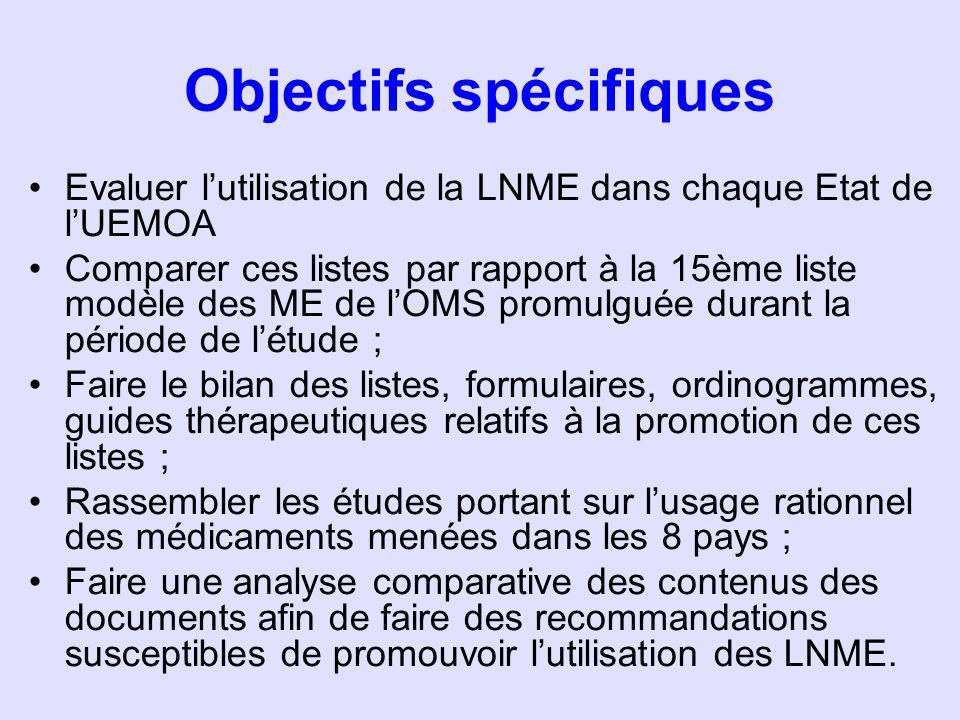 Objectifs spécifiques Evaluer lutilisation de la LNME dans chaque Etat de lUEMOA Comparer ces listes par rapport à la 15ème liste modèle des ME de lOM