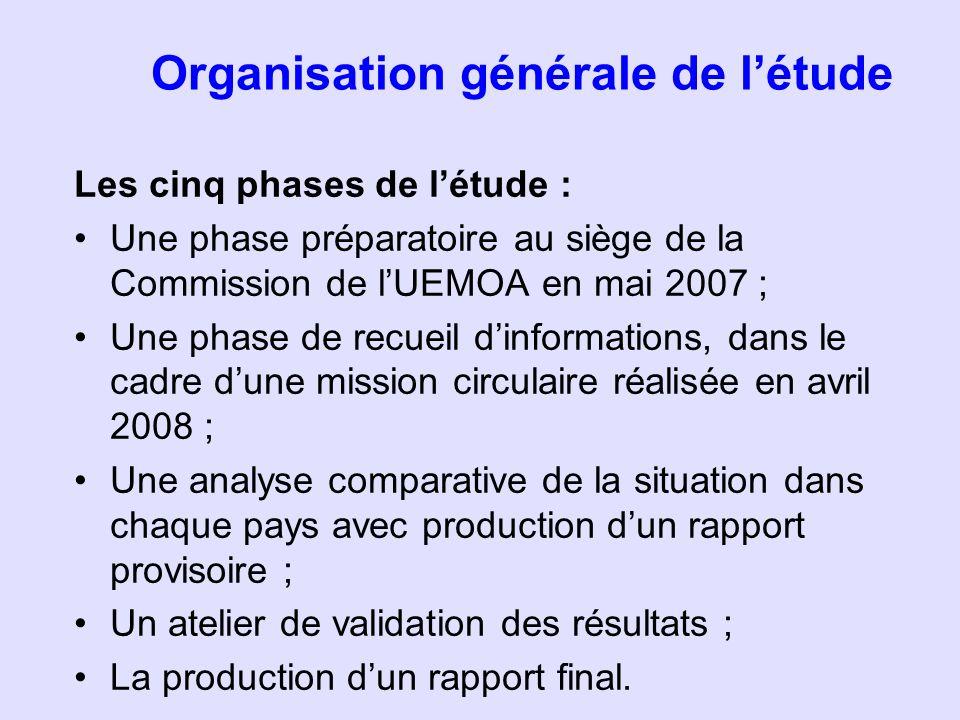 Organisation générale de létude Les cinq phases de létude : Une phase préparatoire au siège de la Commission de lUEMOA en mai 2007 ; Une phase de recu