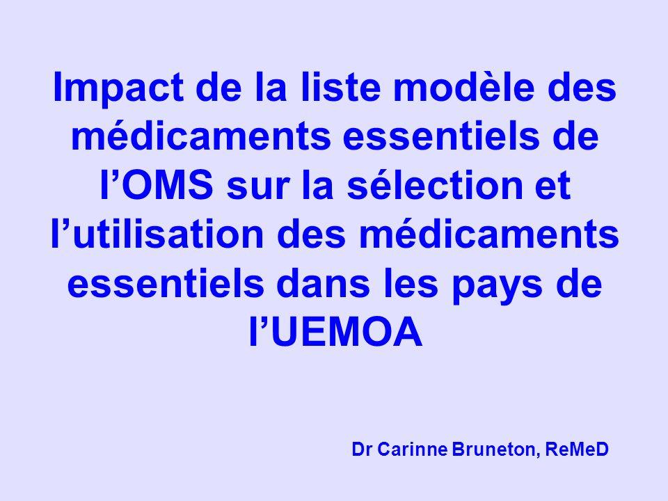Impact de la liste modèle des médicaments essentiels de lOMS sur la sélection et lutilisation des médicaments essentiels dans les pays de lUEMOA Dr Ca