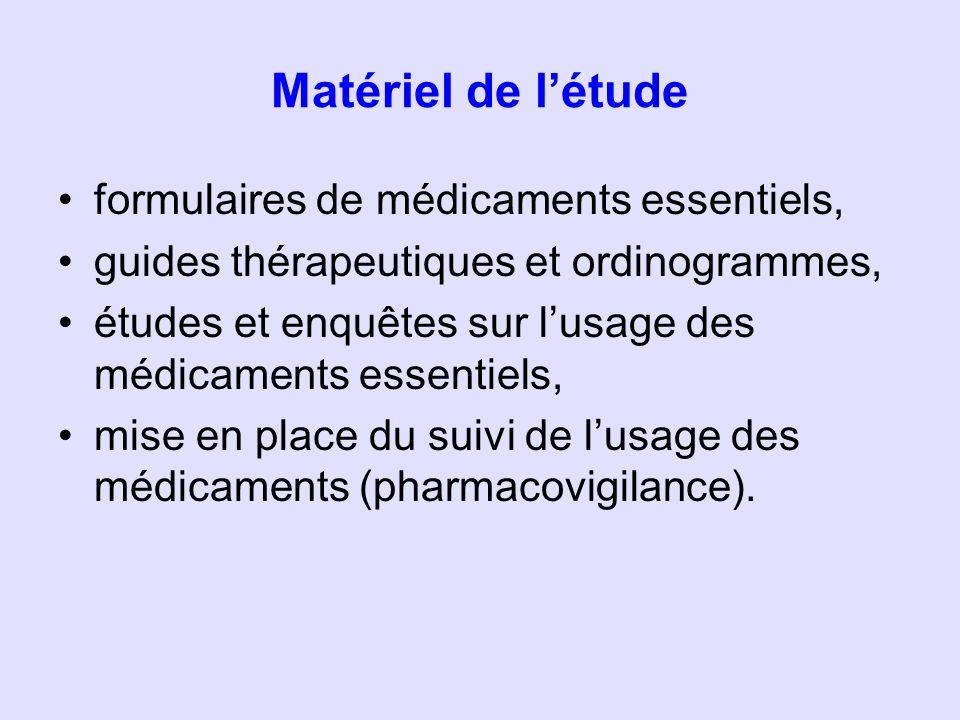 Les listes nationales de médicaments essentiels (LNME) retenues dans létude la liste des médicaments essentiels du Bénin (2006) ; la liste des médicaments essentiels du Burkina-Faso (2007) la liste des médicaments essentiels de Côte dIvoire (2007) ; la liste des médicaments essentiels du Guinée-Bissau (2008), (en cours dadoption au niveau national) ; la liste des médicaments essentiels du Mali (2006) ; la liste des médicaments essentiels du Niger (2006), (en cours dadoption au niveau national) ; la liste des médicaments essentiels du Sénégal (2006) ; la liste des médicaments essentiels du Togo (2006).