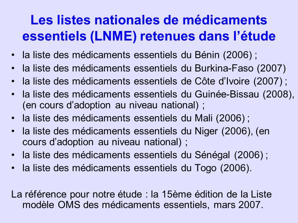 Les listes nationales de médicaments essentiels (LNME) retenues dans létude la liste des médicaments essentiels du Bénin (2006) ; la liste des médicam