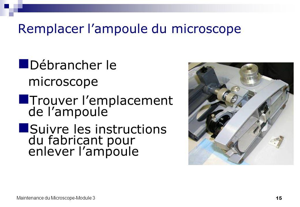 15 Remplacer lampoule du microscope Débrancher le microscope Trouver lemplacement de lampoule Suivre les instructions du fabricant pour enlever lampou