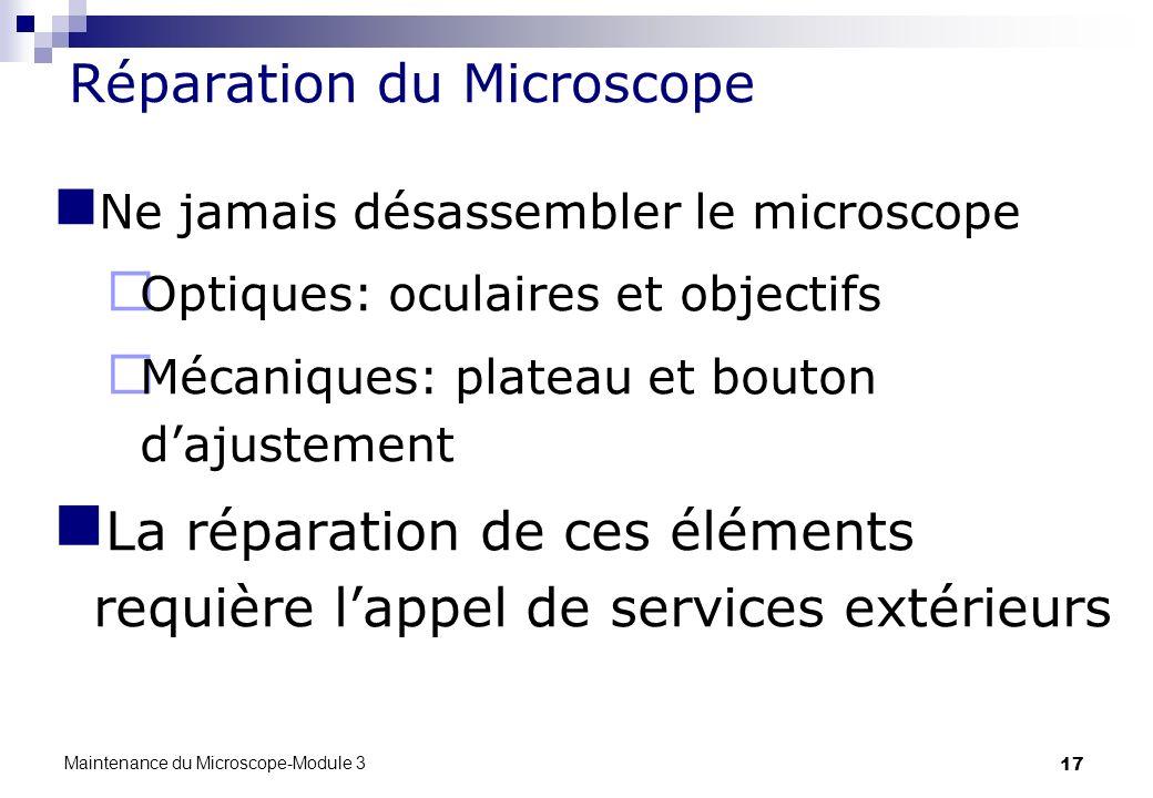 17 Réparation du Microscope Ne jamais désassembler le microscope Optiques: oculaires et objectifs Mécaniques: plateau et bouton dajustement La réparat