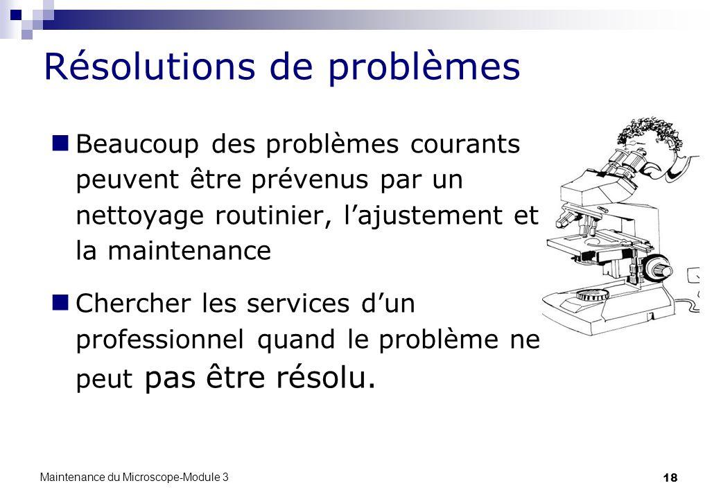 18 Beaucoup des problèmes courants peuvent être prévenus par un nettoyage routinier, lajustement et la maintenance Chercher les services dun professio