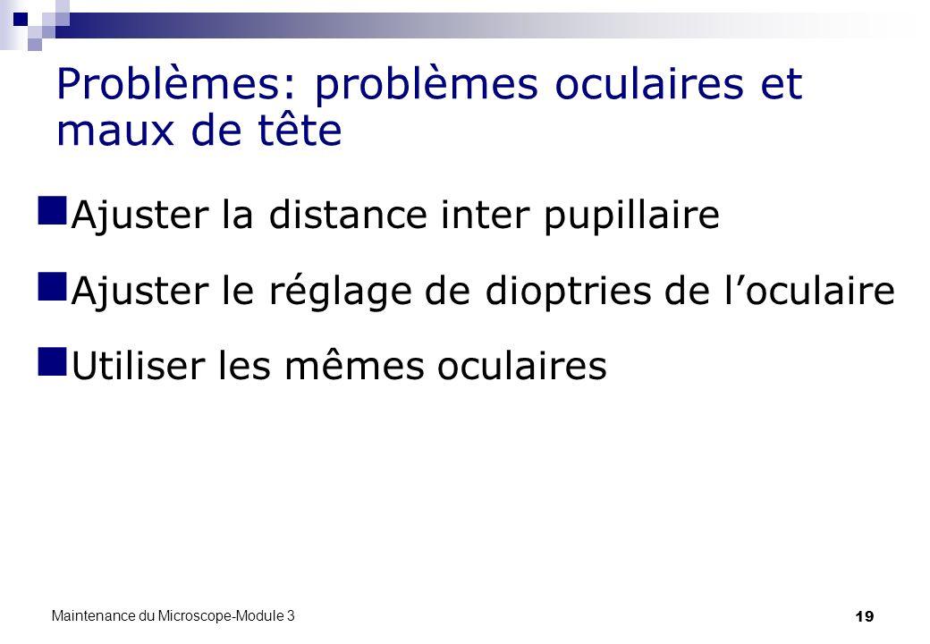 19 Problèmes: problèmes oculaires et maux de tête Ajuster la distance inter pupillaire Ajuster le réglage de dioptries de loculaire Utiliser les mêmes