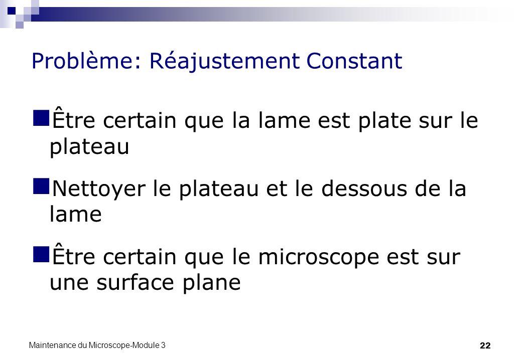 22 Problème: Réajustement Constant Être certain que la lame est plate sur le plateau Nettoyer le plateau et le dessous de la lame Être certain que le