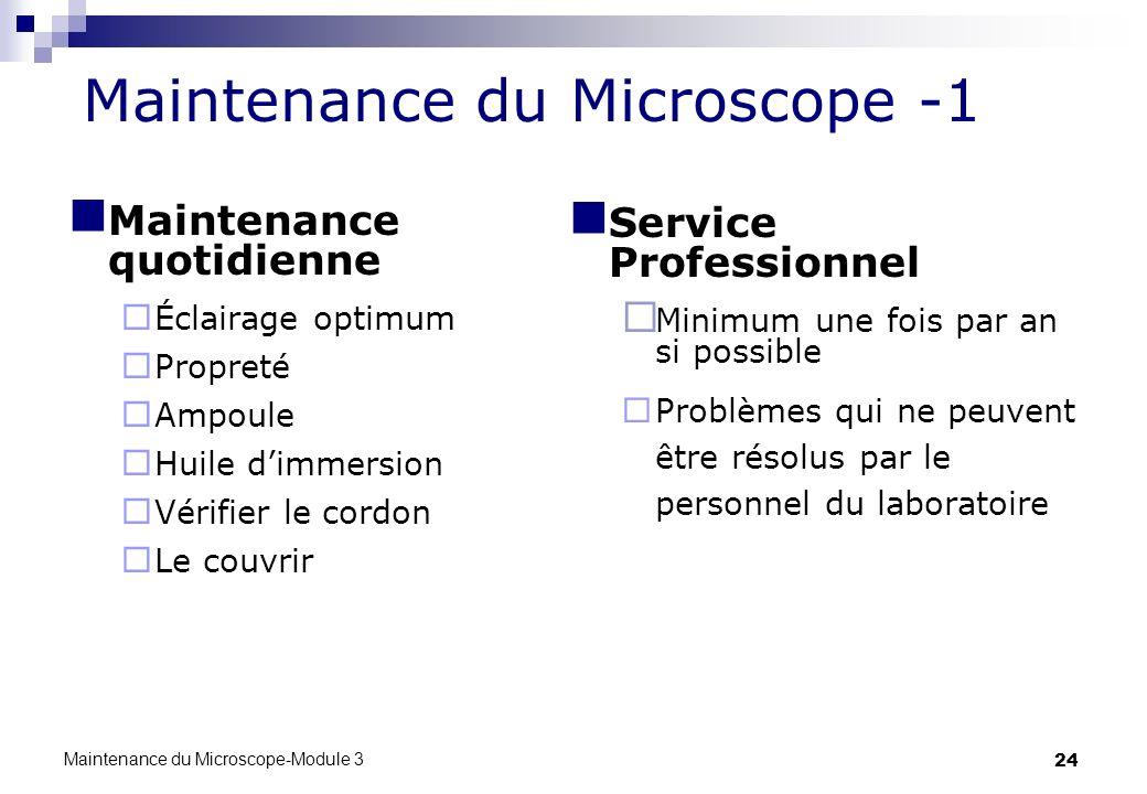 24 Maintenance du Microscope -1 Maintenance quotidienne Éclairage optimum Propreté Ampoule Huile dimmersion Vérifier le cordon Le couvrir Service Prof
