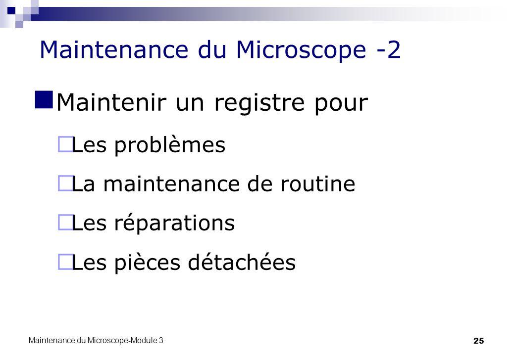 25 Maintenance du Microscope -2 Maintenir un registre pour Les problèmes La maintenance de routine Les réparations Les pièces détachées Maintenance du