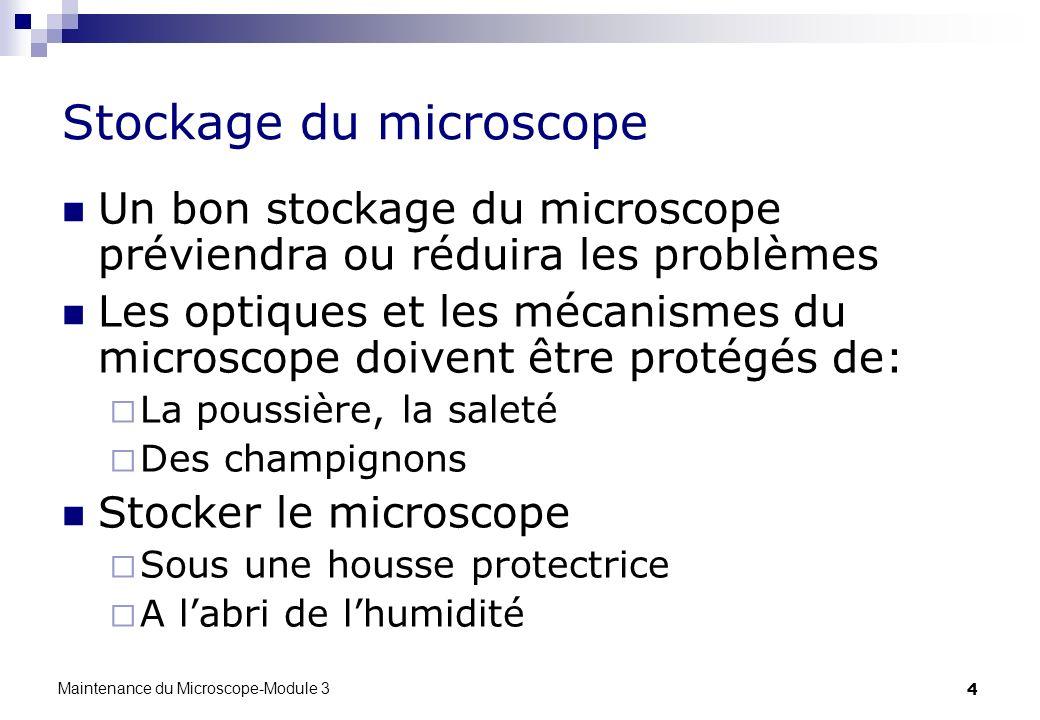 4 Stockage du microscope Un bon stockage du microscope préviendra ou réduira les problèmes Les optiques et les mécanismes du microscope doivent être p