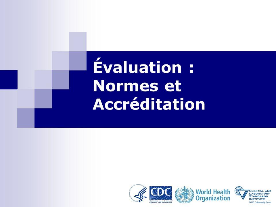 Evaluation: Normes and Accréditation-Module 11 32 Assessment: Norms and Accréditation-Module 11 32 Résumé Les normes fournissent des lignes de conduite qui forment la base des pratiques qualité au laboratoire.