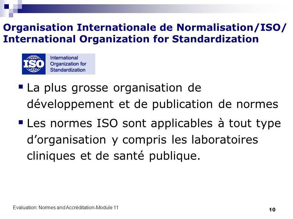 Evaluation: Normes and Accréditation-Module 11 10 Organisation Internationale de Normalisation/ISO/ International Organization for Standardization La
