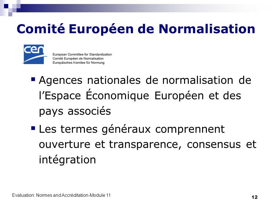 Evaluation: Normes and Accréditation-Module 11 12 Comité Européen de Normalisation Agences nationales de normalisation de lEspace Économique Européen