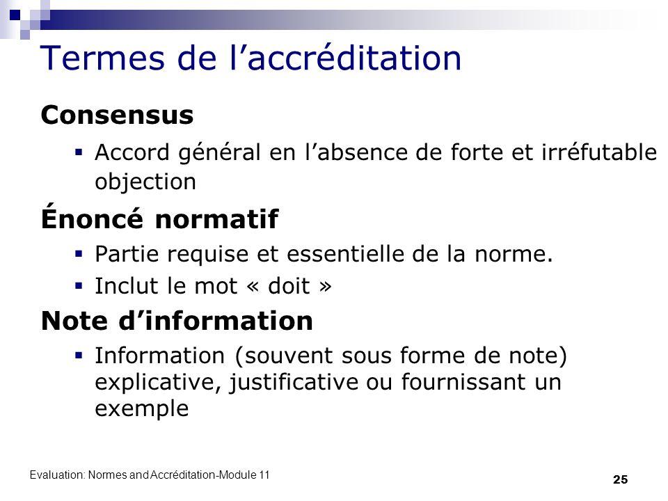 Evaluation: Normes and Accréditation-Module 11 25 Termes de laccréditation Consensus Accord général en labsence de forte et irréfutable objection Énon