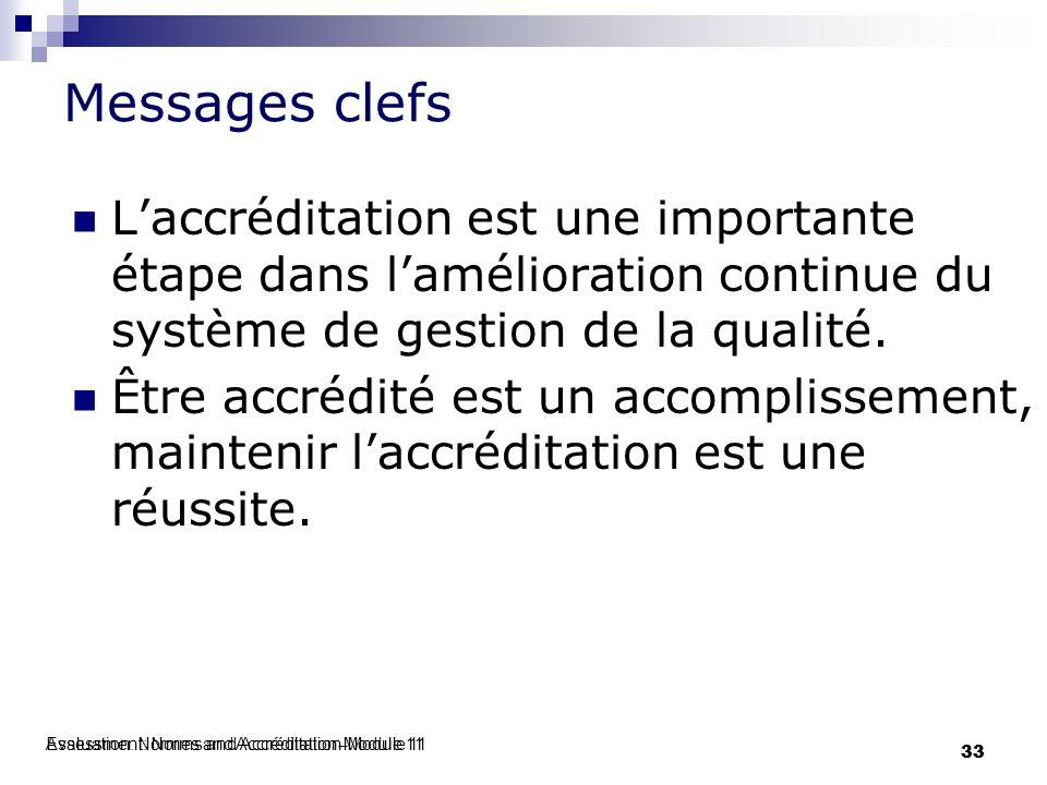 Evaluation: Normes and Accréditation-Module 11 33 Assessment: Norms and Accréditation-Module 11 33 Messages clefs Laccréditation est une importante ét