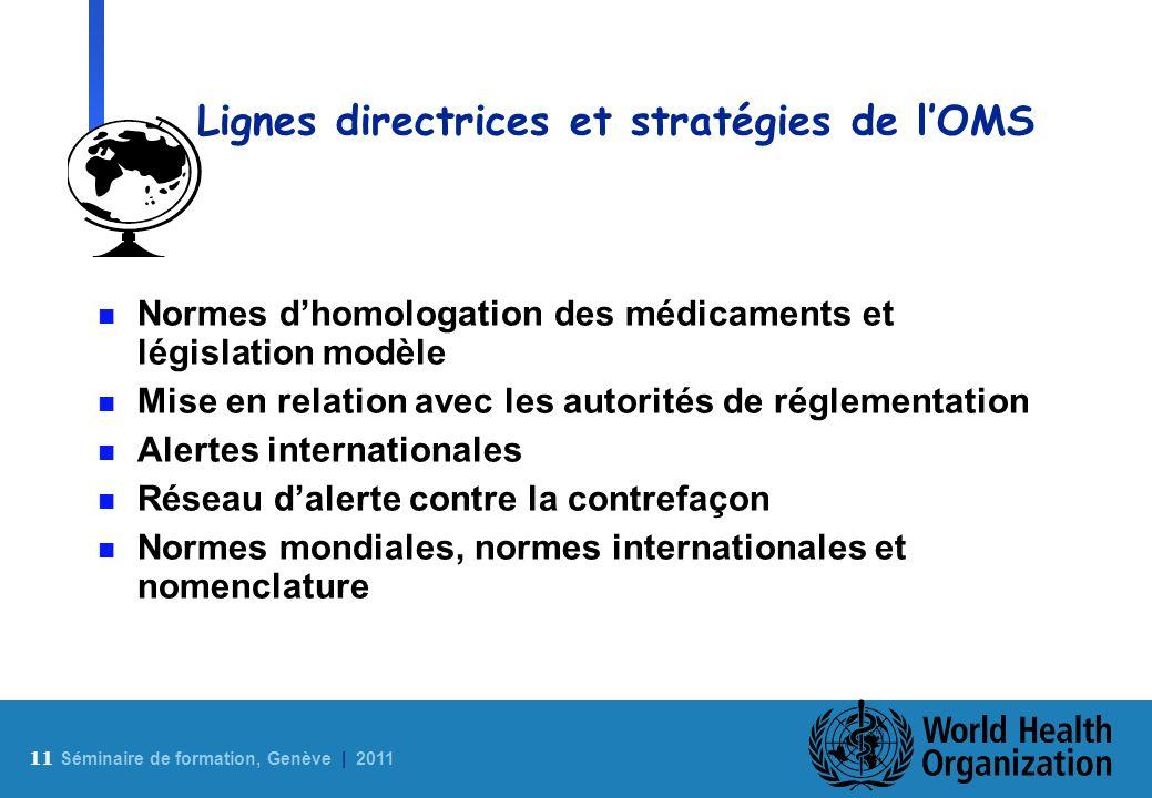 11 S éminaire de formation, Genève | 2011 Lignes directrices et stratégies de lOMS n Normes dhomologation des médicaments et législation modèle n Mise