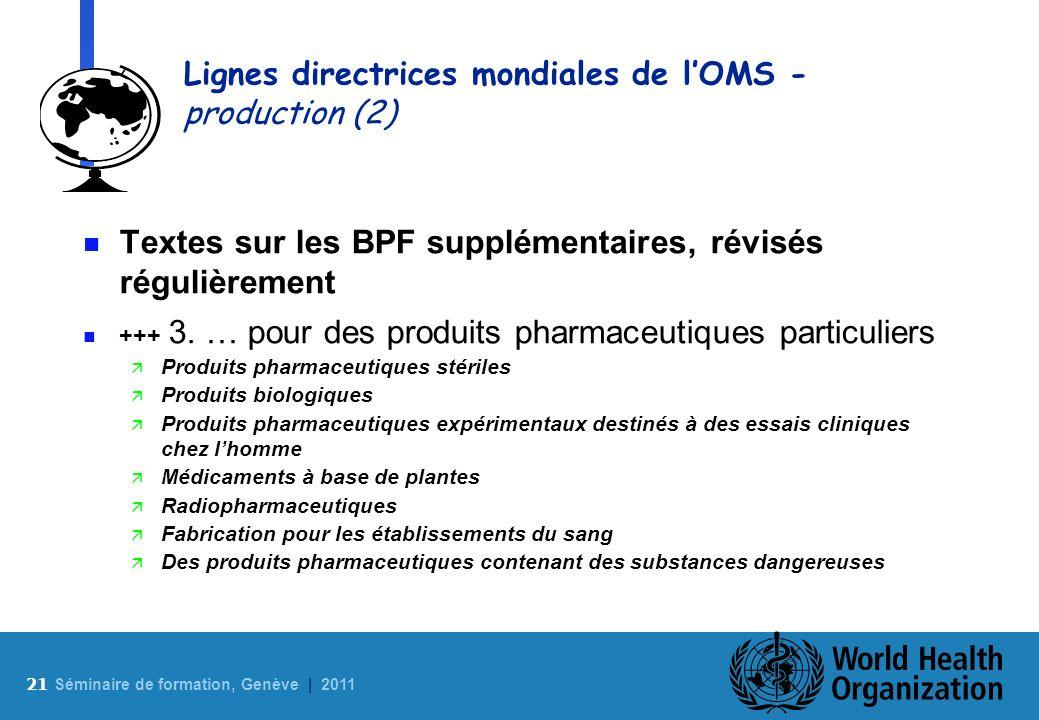21 S éminaire de formation, Genève | 2011 Lignes directrices mondiales de lOMS - production (2) n Textes sur les BPF supplémentaires, révisés régulièr