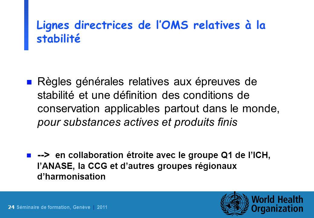 24 S éminaire de formation, Genève | 2011 Lignes directrices de lOMS relatives à la stabilité n Règles générales relatives aux épreuves de stabilité e