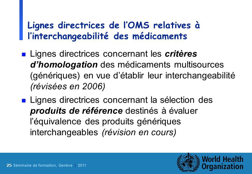 25 S éminaire de formation, Genève | 2011 Lignes directrices de lOMS relatives à linterchangeabilité des médicaments n Lignes directrices concernant l