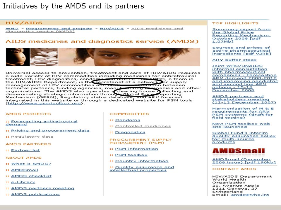 Initiatives by the AMDS and its partners