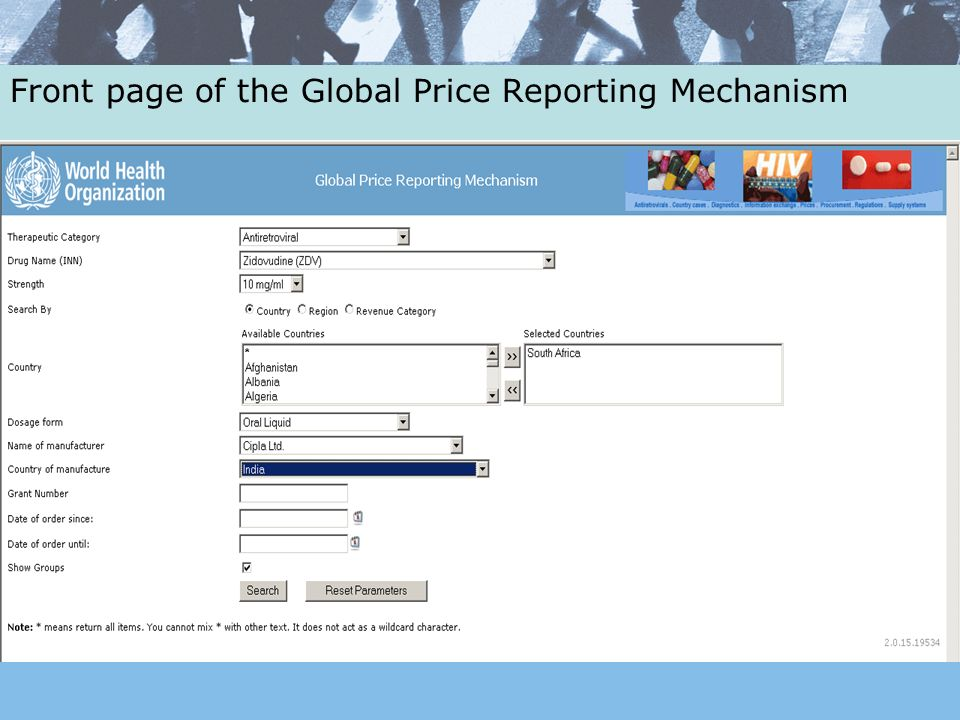 Front page of the Global Price Reporting Mechanism