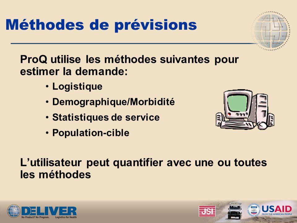 Méthodes de prévisions ProQ utilise les méthodes suivantes pour estimer la demande: Logistique Demographique/Morbidité Statistiques de service Population-cible Lutilisateur peut quantifier avec une ou toutes les méthodes