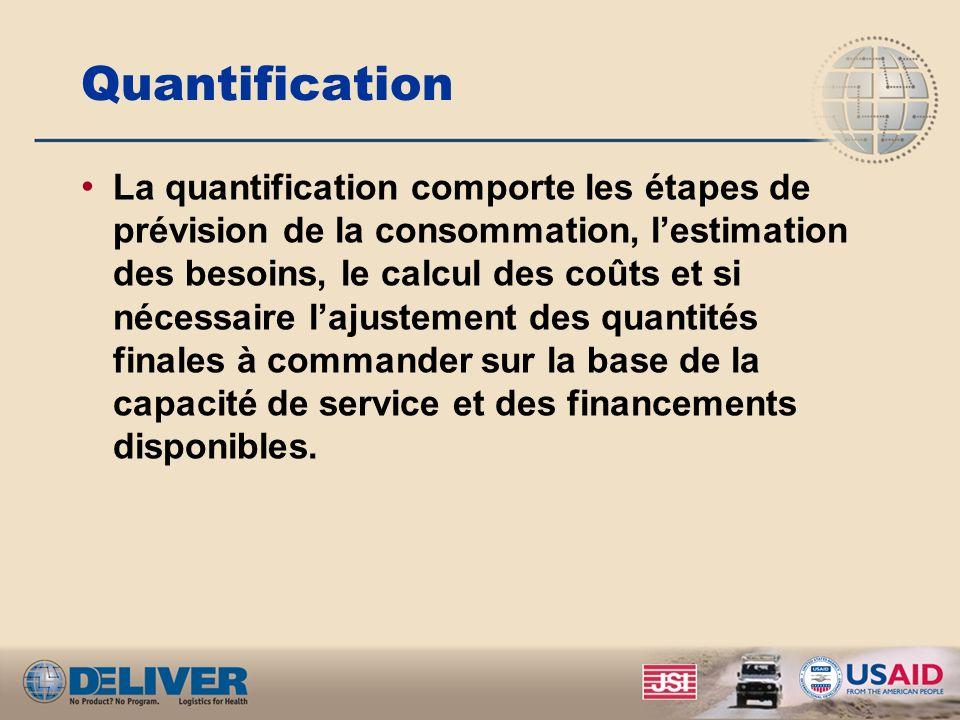 Quantification La quantification comporte les étapes de prévision de la consommation, lestimation des besoins, le calcul des coûts et si nécessaire lajustement des quantités finales à commander sur la base de la capacité de service et des financements disponibles.