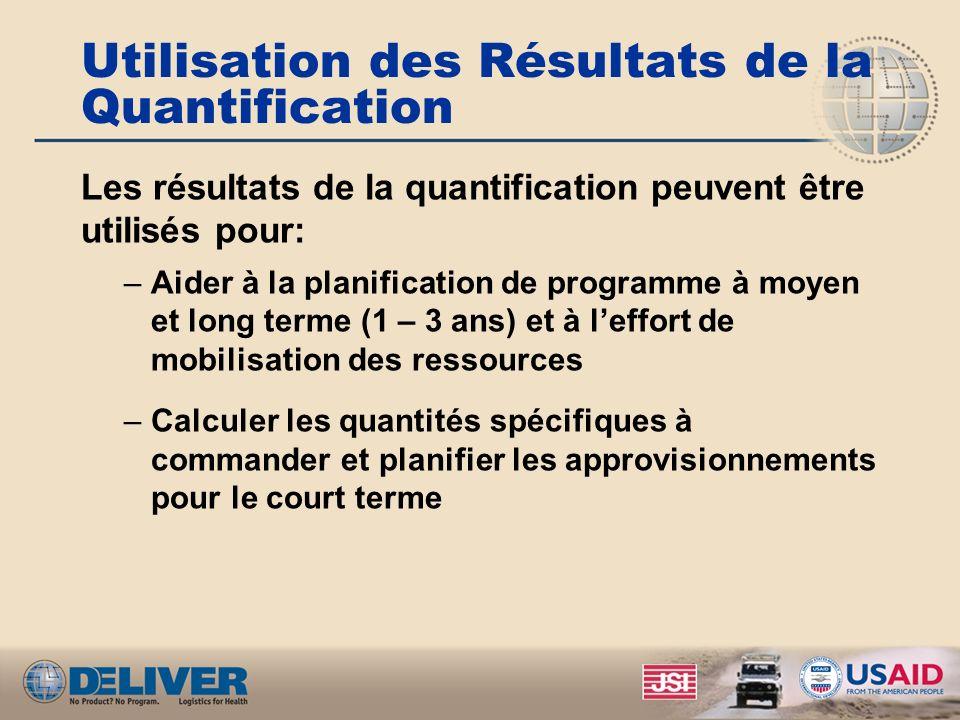 Utilisation des Résultats de la Quantification Les résultats de la quantification peuvent être utilisés pour: –Aider à la planification de programme à