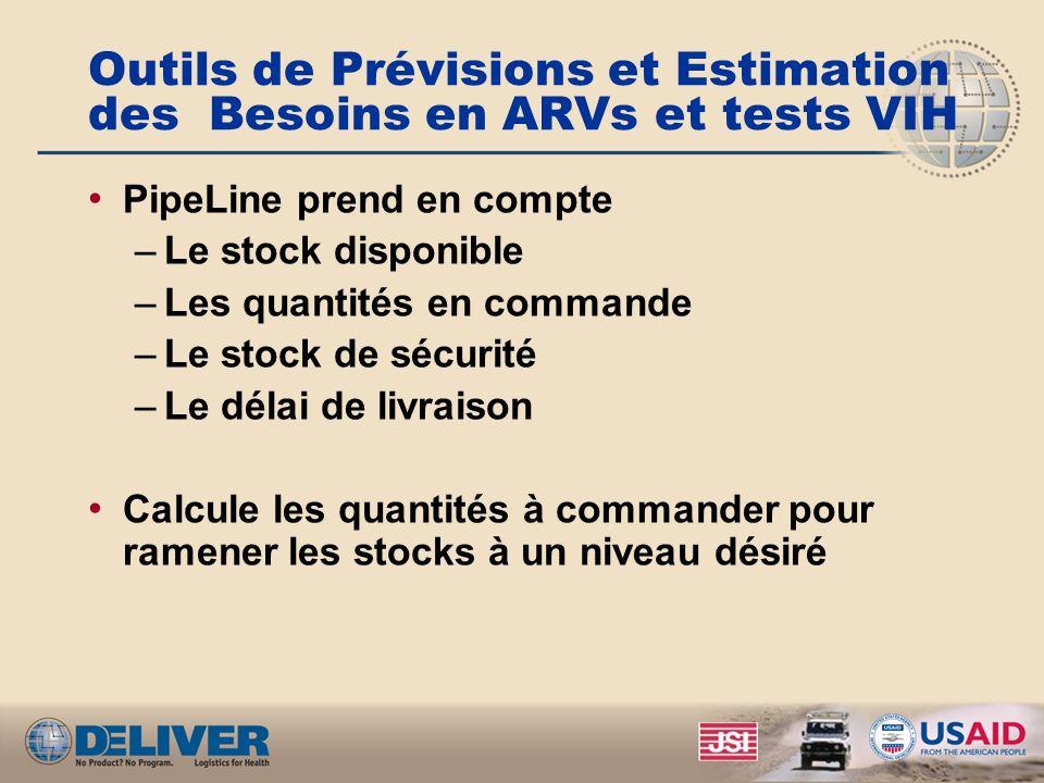 Outils de Prévisions et Estimation des Besoins en ARVs et tests VIH PipeLine prend en compte –Le stock disponible –Les quantités en commande –Le stock de sécurité –Le délai de livraison Calcule les quantités à commander pour ramener les stocks à un niveau désiré