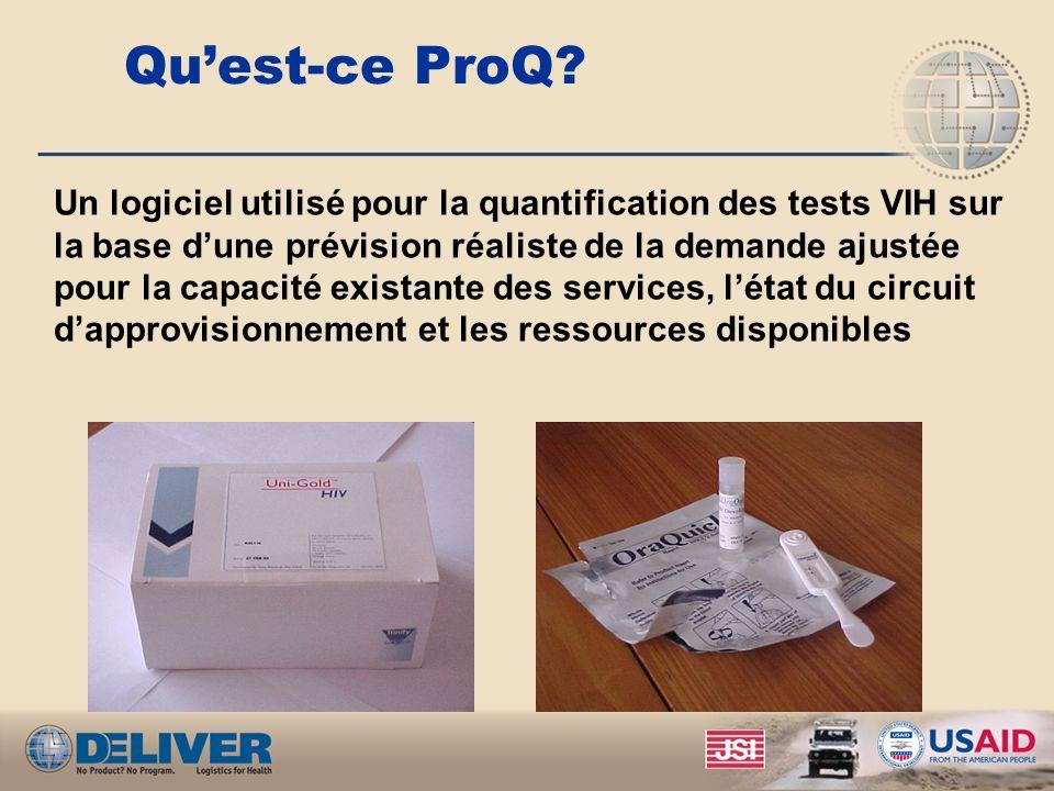 Quest-ce ProQ? Un logiciel utilisé pour la quantification des tests VIH sur la base dune prévision réaliste de la demande ajustée pour la capacité exi